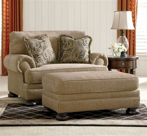 Loveseat And Ottoman Set by Joyce Traditional Oversized Chenille Sofa Set
