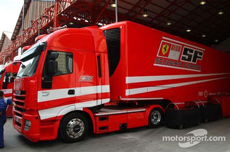 ferrari truck valencia circuit preparations scuderia ferrari truck at