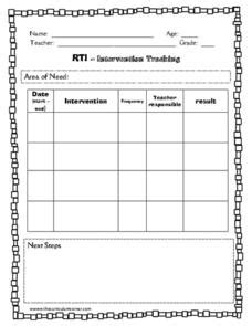 rti intervention tracking printables template  pre