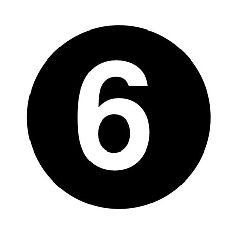 black and white south six white numeral 6 centered inside black circle clip at