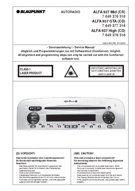 blaupunkt alfa 937 mid gta high service manual schematics eeprom repair info for