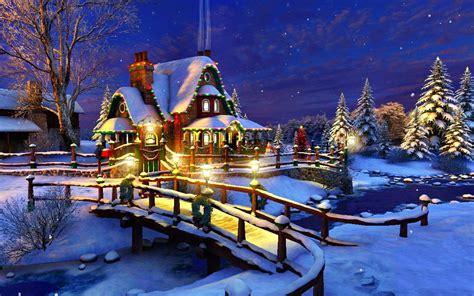 1680x1050 Christmas, Xmas, Winter, Lighting, Night, Cottage, Holidays Cottage, Snow, House