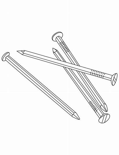 Coloring Nails Pages Metal Printable Colouring Hammer