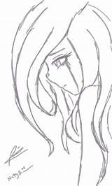 Sad Coloring Anime Template sketch template