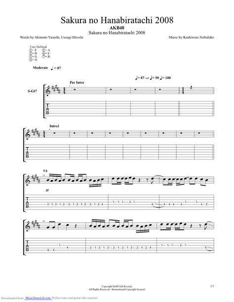 sakura  hanabiratachi guitar pro tab  akb