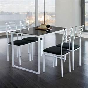 Table De Cuisine Grise : ensemble de noa table de cuisine verre 4 chaises noir achat vente table de cuisine ensemble ~ Dode.kayakingforconservation.com Idées de Décoration