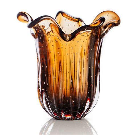 vaso murano vaso de murano s 227 o marcos cristal marrom 22cm casa