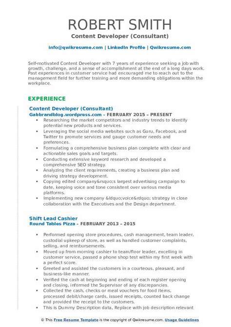 Resume Sles Pdf by Content Developer Description The Best