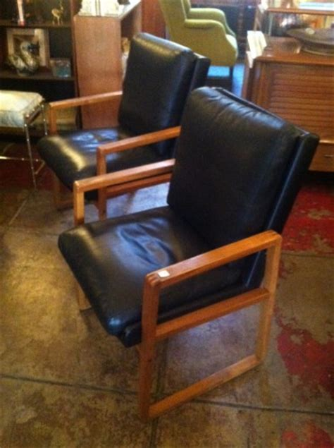 waiting room mid century leather chairs with wood arms