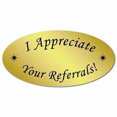 Referrals Stickers Oval Thank Order Appreciate Gold