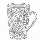 Coffee Cup Coloring Adult Zentangle Mug Printable Tea Shutterstock sketch template