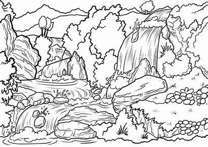 Coloring Waterfall Landscape Nature Scene Fall Colorare