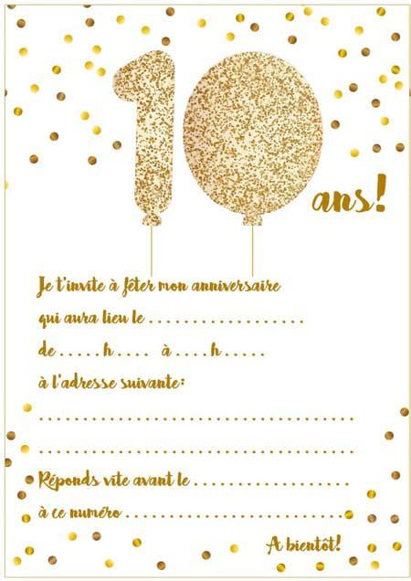 On vous propose une sélection de cartes d'anniversaire gratuites à imprimer pour inviter les amis de vos enfants à son anniversaire. Carte D Anniversaire 10 Ans   Carte De Paris