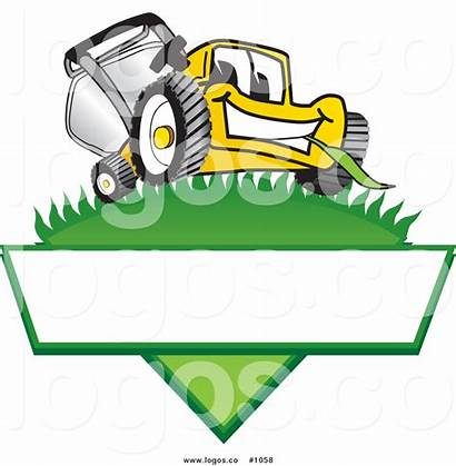Lawn Mower Cartoon Vector Grass Blank Yellow