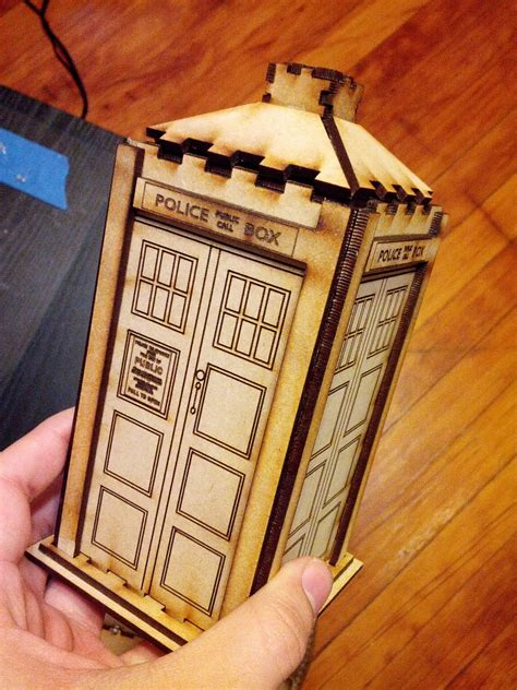 laser cut wooden police box tardis toy  vector files cnc