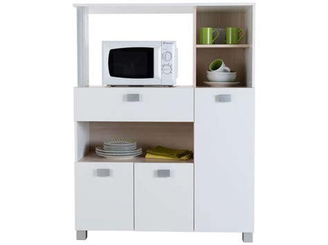 meuble de cuisine pour micro onde desserte basilic coloris blanc vente de meuble micro