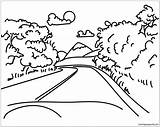 Coloring Mountain Road Mountains Roads Drawing Printable Line Adults Drawings Nature Mount Everest sketch template