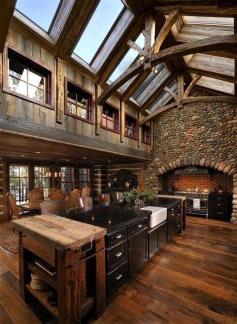 spacious log cabin kitchen  long island   middle founterior