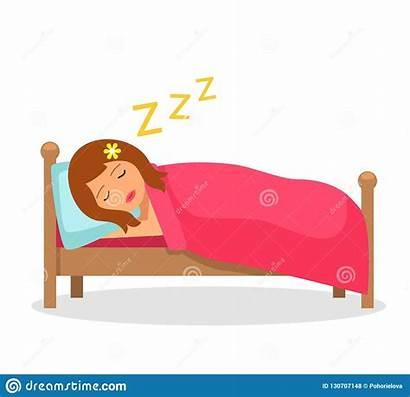 Sleep Illustration Cartoon Bed Sleeps Vector Under