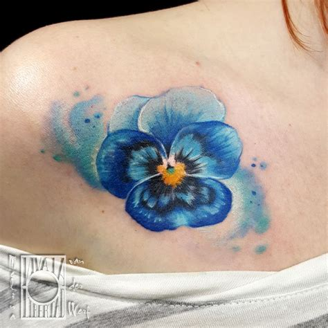 realistic pansy tattoo melina van der werf color flower