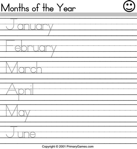 months of the year activity pages primarygames com