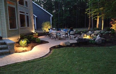 awesome paver patio design backyard with pond steps and