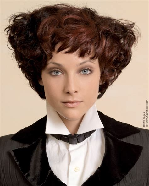 Short wedge shape hairstyle with brown curls