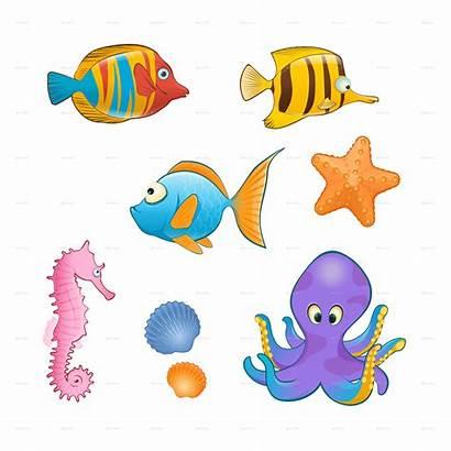 Sea Cartoon Creatures Animals Transparent Pluspng