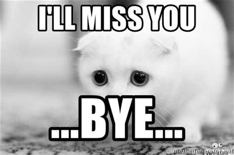 I Will Miss You Meme - i ll miss you bye sadcat meme generator