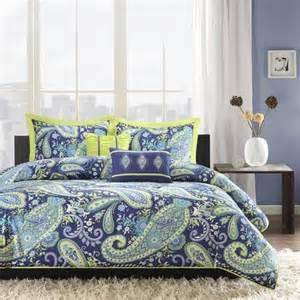 intelligent design melissa blue lime green paisley comforter set full queen paisley