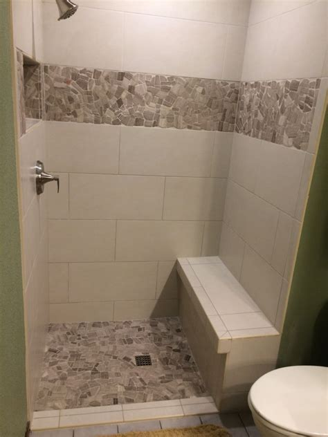 linen rectangle tile shower  stone accent  koehn