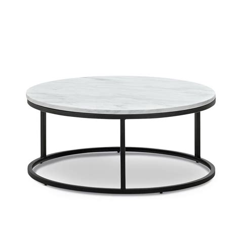 Wimarsbon round coffee table, modern center table with faux marble surface top & gold metal legs, accent side end table, sofa table for living room, dining room, home office, white/bronze gold. Khloe White Marble Round Nesting Coffee Table Set with ...