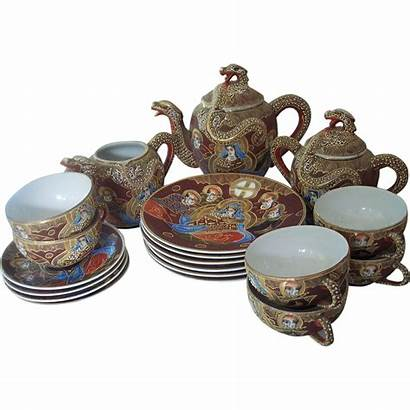 Tea Dragonware Moriage Satsuma Japanese Lithopane Manna