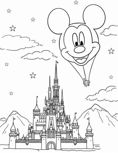 Castle Disney Coloring Mickey Mouse Balloon Air