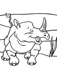 smiling rhino coloring page  printable coloring pages