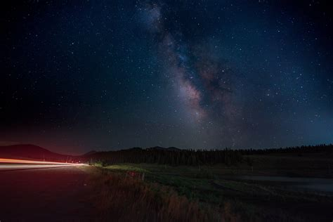 Milky Way Galaxy Nighttime Road Starry Night