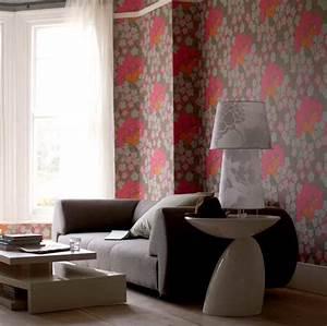 Bold floral wallpaper living room