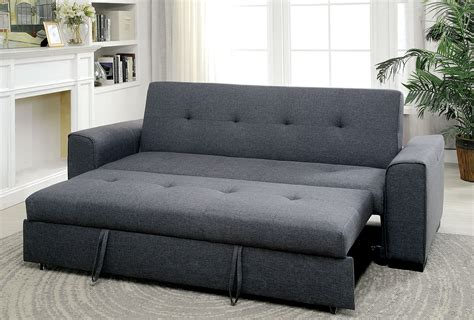 Reilly Gray Linen Fabric Sofa Futon W/ Pull Out Bed
