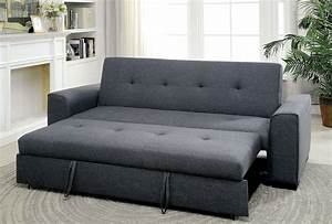 reilly gray linen fabric sofa futon w pull out bed With convertible sofa with pull out bed