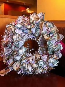 money wreath for wedding gift cash money pinterest With wedding gift website money