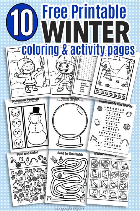 printable winter coloring activity pages