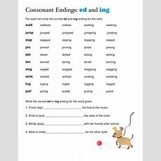 Ed And Ing Endings  Worksheet Educationcom