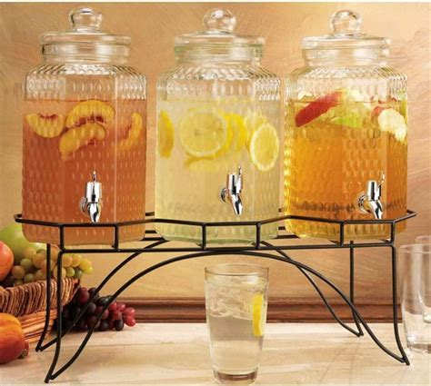 Hammered Glass Trio Beverage Server with Spigot   liquor