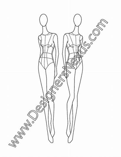 Pose Female Croqui Quarter Three Drawings V7
