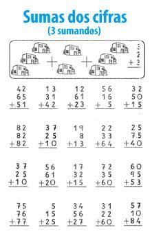 Suma de 2 cifras y 3 sumandos Matematica ejercicios