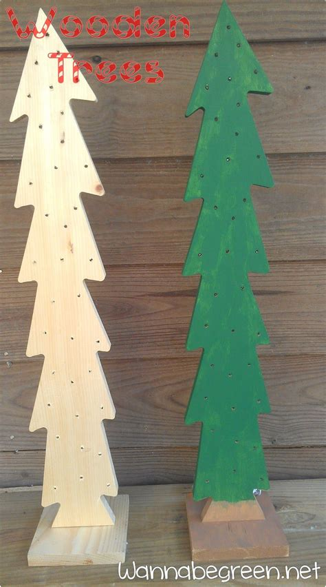 wooden christmas trees drill holes  twinkle lights