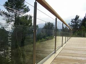 rambarde en verre avec poteaux inox et main courante bois With garde corps terrasse prix