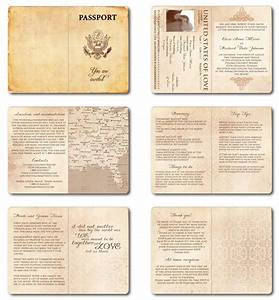 Wedding invitation passport printable template vintage for Passport wedding program template