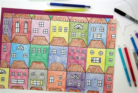 exploring tessellations  houses  draw  color
