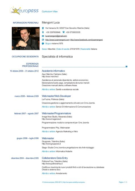 How To Add Photo To Europass Cv by Luca Mengoni Curriculum Vitae Europass